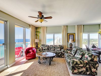 Two large balcony doors lead to the spacious balcony - enjoy the gulf views!