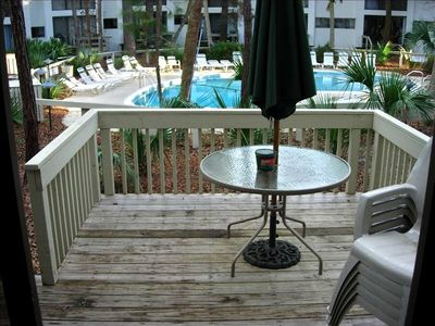 Our deck is steps away from the pool, very convenient!