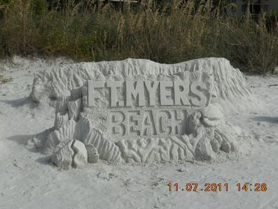 Estero condo rental - Ft. Myers Beach is famous for Sand Sculpture competition