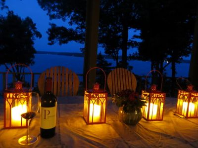 Candlelight dining on the large covered porch.