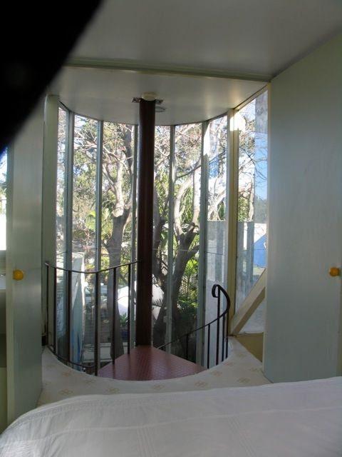 View into the tree canopy from the Main Bedroom on the top floor.