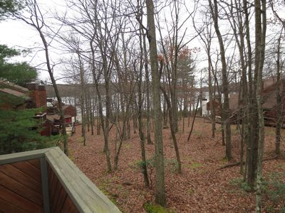 View of Lake through trees from 2nd floor deck