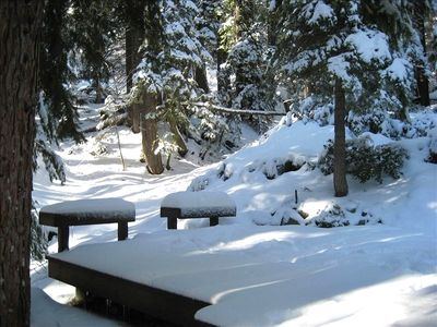 Upper deck, fun for snow man building winter or outdoor dining in summer