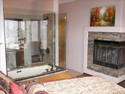 Master Bedroom Fireplace and Granite Jacuzzi Tub and Shower