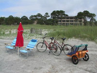Beach Bikes, Umbrella, And Chairs Provided