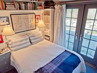 Chilmark cottage photo - Bedroom #2 - Has Full Bed & French Doors To Fieldstone Patio