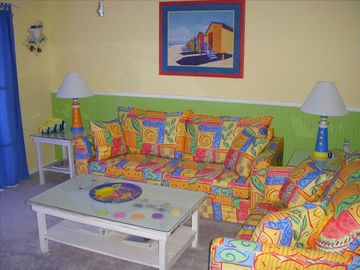 Walton Dunes townhome rental - Beachy decor and roomy Living Room overlooking the beach!!