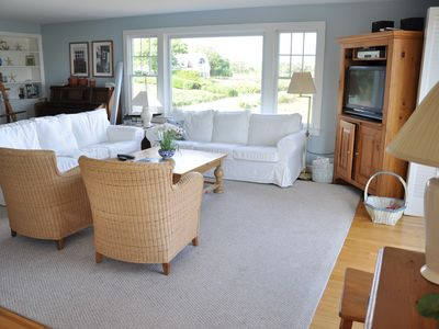 Chatham house rental - Living room with flat tv,wifi, many prem channels, DVR-Comcast svc-not guarant'd