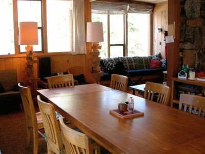 The Dining room-expandable dinner table seating up to 12 people!