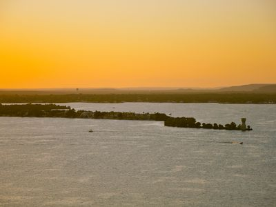 Amazing Texas hill country sunset over Lake LBJ and Lighthouse Drive