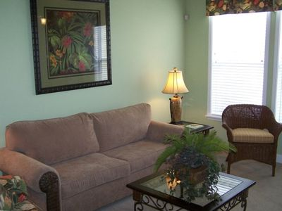 "Livingroom with 32"" LCD TV & DVD.  Sleeper sofa for additional guests"
