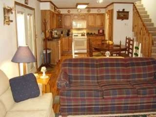 Maggie Valley cabin rental - Family room, Dining area and Kitchen. Full size washer & dryer in utility room