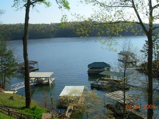 Lake Allatoona studio photo - Short Walk to Dock in Center of Photo.