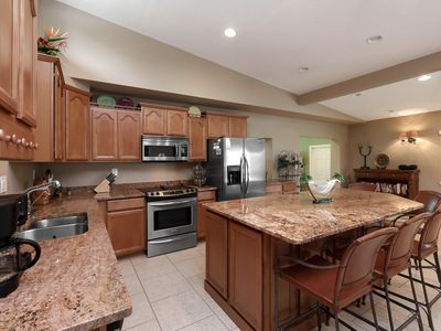 Huge center island, granite counters, stainless steel appliances!