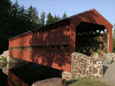 The historic Sachs Covered Bridge is on the farm across from ours.