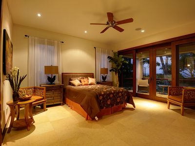First Floor Bedroom #3, with lanai (porch) looking towards ocean and beach.