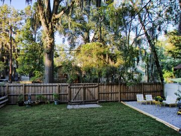 Our backyard is the perfect space to play badminton and to grill out.