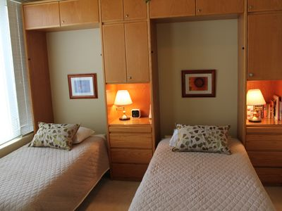 This is what it looks like with the twin BeautyRest Murphy beds made up