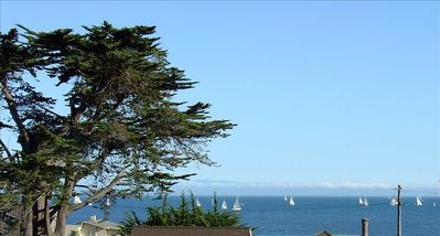 Monterey can be seen across the bay from upstairs living area