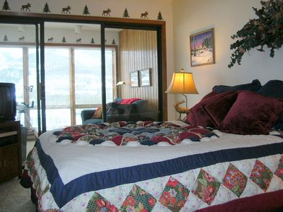 Big Sky condo rental - Master Bedroom with Sunroom and Great Views!!