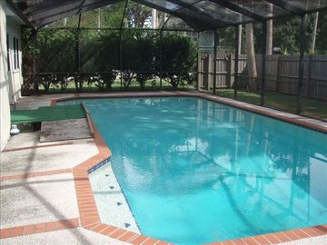 The pool is very large and perfect for swimming laps.