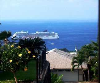 Kailua Kona house rental - View every Wednesday from our lanai. Front row seats to oceanside activitiy