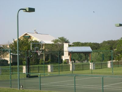 Lighted tennis court, pavilion & back of main house