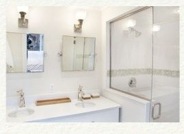 Master ensuite double sink tile and stone washroom