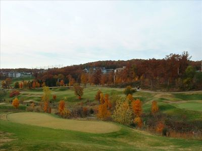 View of golf course from enclosed porch- Come and see beautiful leaves