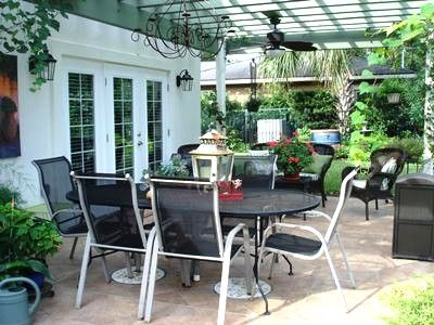 Pergola patio area for outdoor dining/relaxation -- access to/from family room