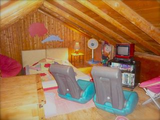 Harpers Ferry cabin photo - kid's loft with full futon, brio train, classic kid's movies galore