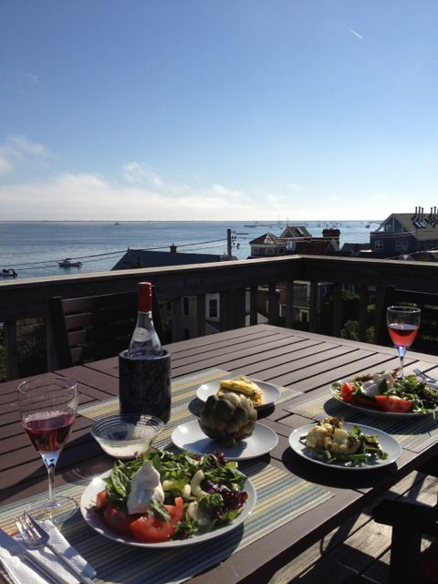 Lunch overlooking Cape Cod Bay from the roof deck. Heaven.