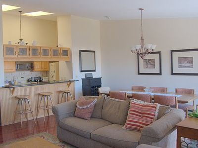 The living and dining area are spacious and open to the kitchen.