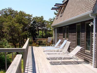 Private deck overlooking great white oaks