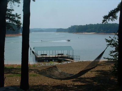 Enjoy the hammock while looking over the open water of Lake Hartwell