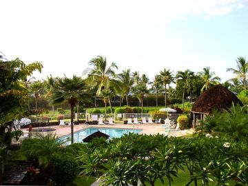 The spacious lanai looks out at pool and a paradise of tropical landscaping.