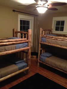 Lodge Suite with Two custom Pine Bunk Beds, TV with VHS Library,Shag Rug, FUN!