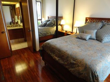 Guest Bedroom with pillowtop queen bed and adjoining full bathroom