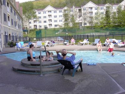 Outdoor pools and hot tub