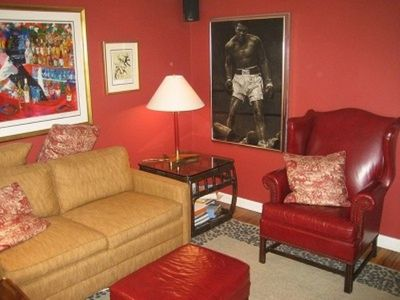 The den has a great sleeper sofa and huge flat screen TV