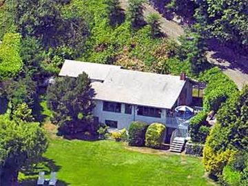 Aerial view of cottage.