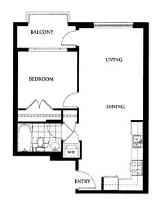 Floor Plan of the 600 square foot Metro Suite