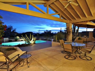 Spacious covered patio invites outdoor living