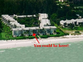 Sanibel Island condo photo - Aerial view of our condo. If you want direct water views-this is the condo!