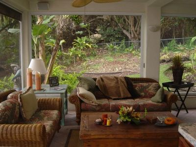 This lovely lanai is beautifully furnished and also has a dining area.