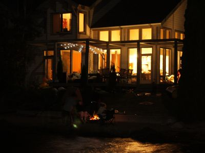 Our Lake House at night. Great memories sitting around the beachside fire.
