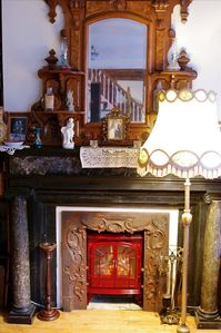Beautiful Victorian marble fireplace and mantle. House is gorgeously furnished.