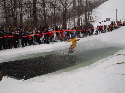"Finish line for the ""Slush Cup"""