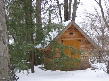The garden shed is transformed into a miniature chalet in winter.