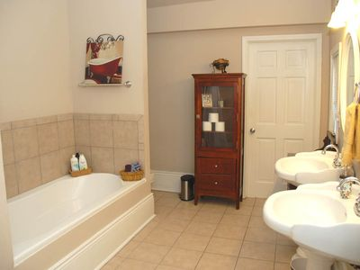 wide angle master bath (stall shower just next to huge tub)